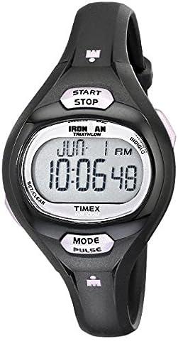 Timex Women's T5K187 Ironman Essential Pulse Black/Purple Resin Strap Watch - Timex Water Resistant Watch