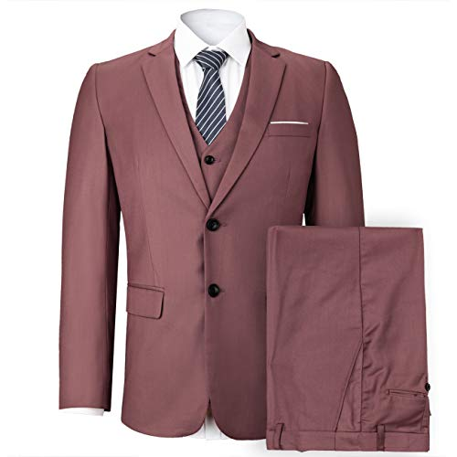 WEEN CHARM Mens Suits 2 Button Slim Fit 3 Pieces Suit (XX-Large, Pink) (Best 3 Piece Suits For Men)
