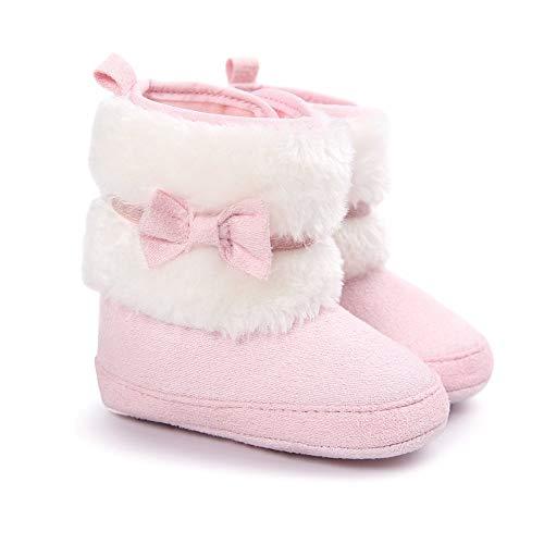 LIVEBOX Baby Girls Premium Soft Sole Bow Anti-Slip Mid Calf Warm Winter Infant Prewalker Toddler Snow Boots (M: 6~12 Months, Pink)