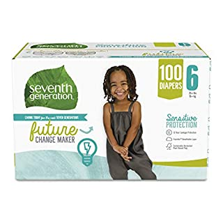 Seventh Generation Baby Diapers for Sensitive Skin, Size 6, 100 count (Packaging May Vary)