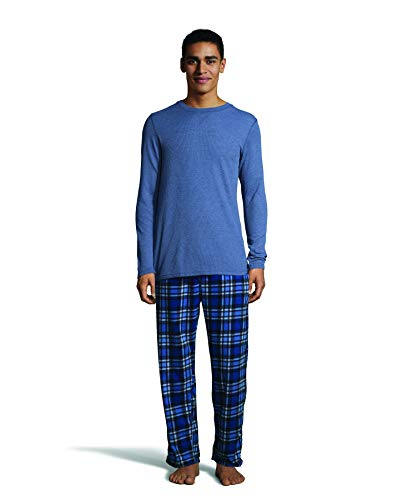 - Hanes Men's Micro Fleece Pant Set with Waffle Top, Heather Blue, 2X-Large