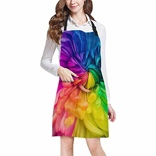 InterestPrint Beautiful Rainbow Flowers Chrysanthemums Chef Kitchen Apron, Adjustable Strap & Waist Ties, Front Pockets, Perfect for Cooking, Baking, Barbequing, Large (Rainbow Apron)