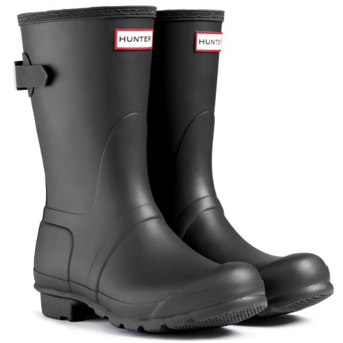 Hunter Women's Original Short Back Adjustable Rain Boot Black 9 B(M) US