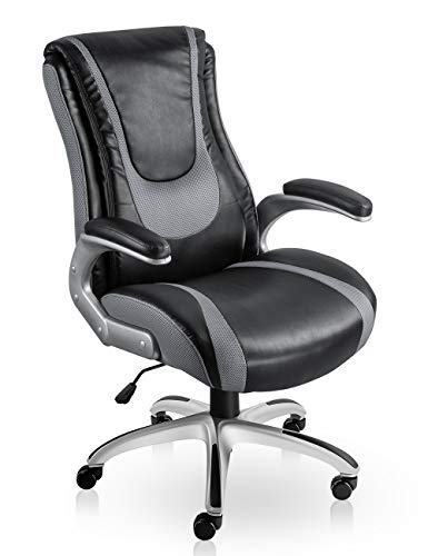 VO Furniture High Back Executive Office Leather Chair Premium Quality Comfortable Back-Tilt Design Recliner Seating Surface Adjustable Executive Desk Chair with Lumber Support