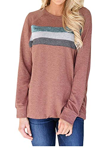 Haogo Womens Casual Long Sleeve Pullover Sweatshirts Loose Tunic Blouse Tops