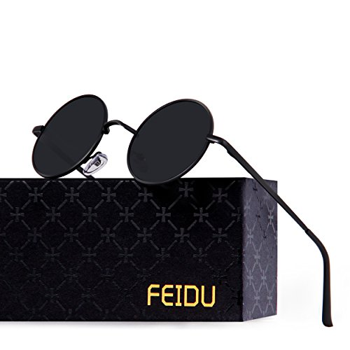 FEIDU-Men Round Retro Polarized Sunglasses Women Vintage Sunglasses FD3013 (Black/Black, - Round Sunglasses Lense