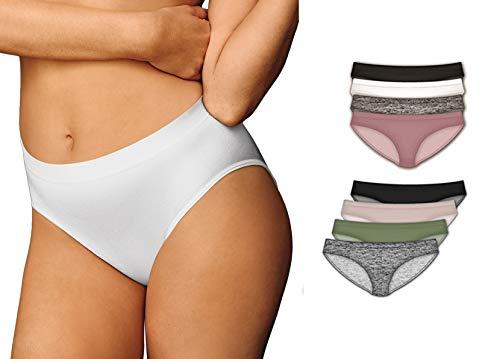 Icyhot Seamless Underwear Invisible Bikini No Show Nylon Spandex Women Panties 8-Pack - M