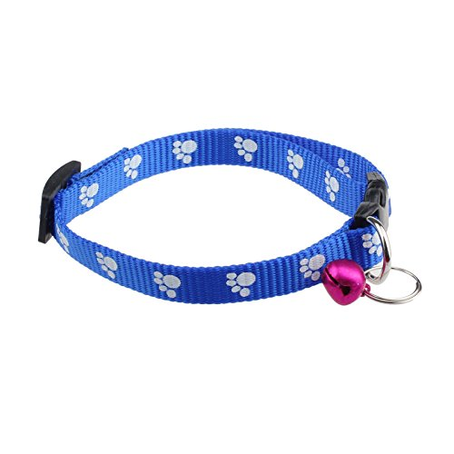XILALU Fashion Adjustable Nylon Footprints reflective Collar Dog Puppy Pet Necklace With Bells (Blue) ()