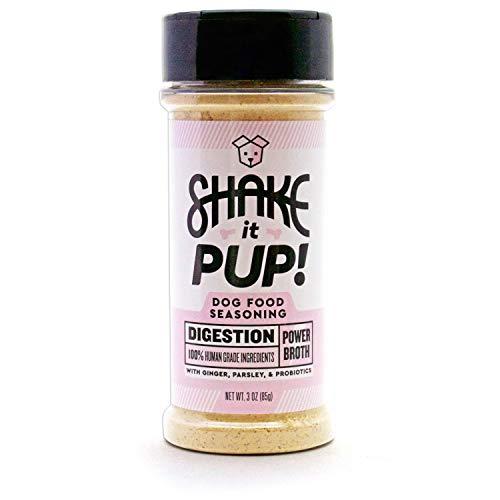 Shake it Pup! Dog Food Seasoning Topper - Digestion Supplement Support Powder Gravy for Dogs Kibble - Pork Bone Broth, Ginger, Probiotics - 100% Human-Grade & Grain-Free (Best Gravy For Pork)