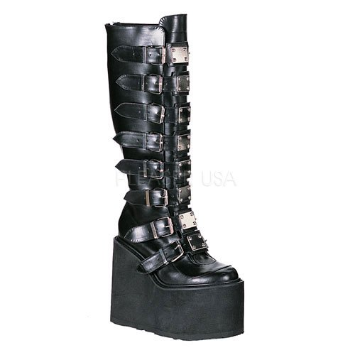 Pleaser Women's Swing-815 Knee-High Boot,Black Polyurethane,9 M US