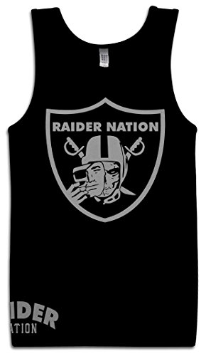 Oakland Raiders Tank - Millionaire Mentality Nation Skull Tank Top (3X-Large) Silver & Black