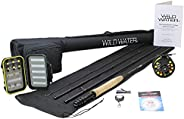 Wild Water Fly Fishing 9 Foot, 4-Piece, 5/6 Weight Fly Rod Complete Fly Fishing Rod and Reel Combo Starter Pac