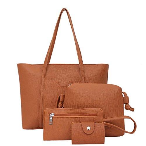 Price comparison product image Clearance Women Four Set Handbag Shoulder Bags Four Pieces Tote Bag Crossbody Wallet Purse Card Package Duseedik