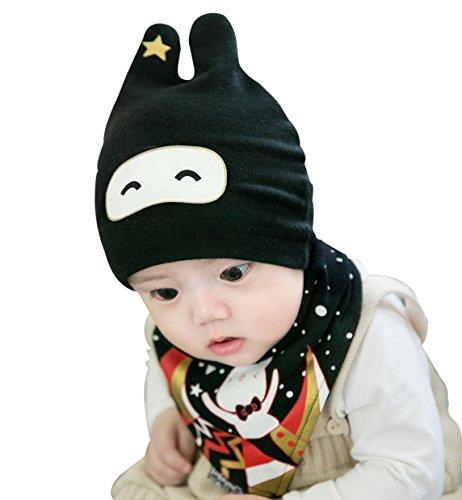 GZMM Unisex Newborn Baby Cotton Beanie Hat and Bib Set Cute Bunny 0-18months (Black)