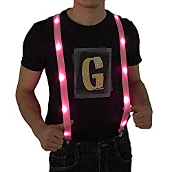 LED Light up Suspenders In Pink Color