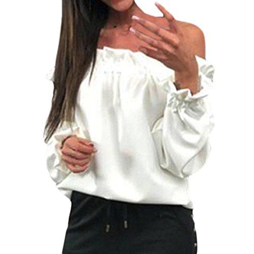 DOGZI Mujer Blusa Manga Larga Color Sólido con Hombros Descubiertos Mujer Blusa Manga Larga con Blusa sólida Moda Tops Manga Corta Camiseta Blusas Tops para ...
