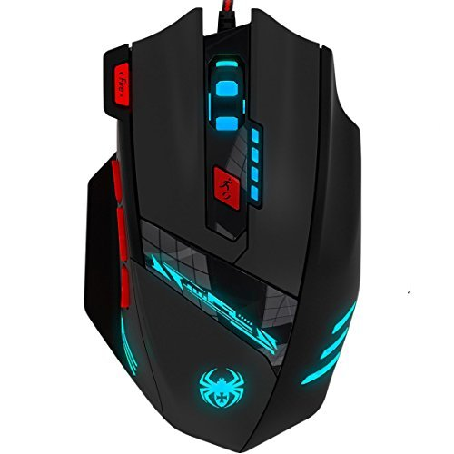 Anivia T90 9200 DPI Gaming Mouse Professional 8 Buttons Wired USB with Multi-Modes LED,WeightTuning Set Computer Mice for PC Mac Gamer, Black
