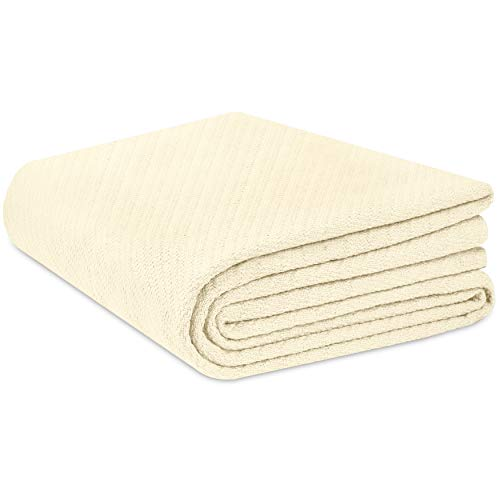 Cotton Craft - 100% Soft Premium Cotton Thermal Blanket - Full/Queen Ivory - Snuggle in These Super Soft Cozy Cotton Blankets - Perfect for Layering Any Bed - Provides Comfort and Warmth for Years