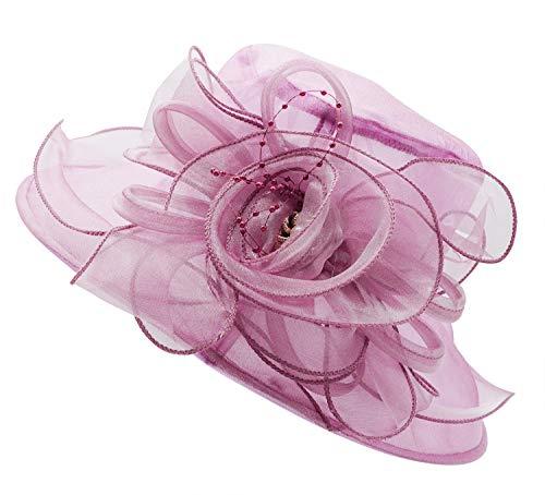 Bellady Women's Organza Church Kentucky Hat Derby Fascinator Bridal Tea Party Wedding Cap,Pink Purple Derby Hats,One -