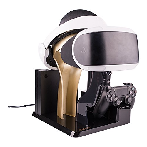 SMOS PSVR Stand Showcase High-end Design Rapid AC PS4 VR Charge & Display for Sony PlayStation - Golden