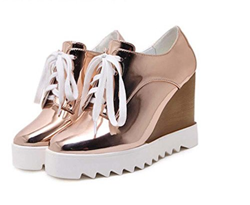 Muffins Shoes 35 Platform Leather Heels Size rose Thick Fasion Pumps gold Shoelaces Lady Simple Onfly Eu Casual Shoes Wedge 40 7pqASaxO
