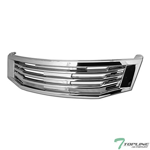 Topline Autopart Chrome MU Style Front Hood Bumper Grill Grille ABS For 08-10 Honda Accord 4 Door ()
