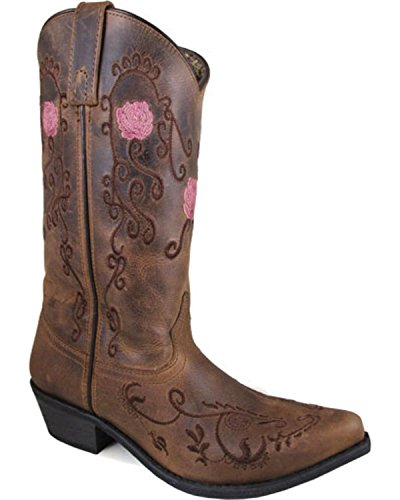 Boots Floral Snip Brown Oil Pull On Toe Mountain Women's Embroidered Smoky Distress Rosette w0x76HqWY