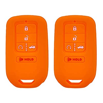 Henzxi Silicone Key Fob Cover Case Keyless Remote Skin Jacket Holder Full Protector 2 Pack for A2C81642600 2020 2020 2016 2020 Honda Accord Civic CR-V Pilot EX EX-L Touring Premium (Orange: Car Electronics