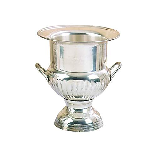 - Benzara Traditional Style Silver Plated Brass Wine Bucket with with 2 Handles