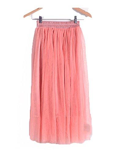Jupe Mi-Longue Plisse De Plage/Voyage/Travail/Bureau Et 3 Couche en Tulle Taille Haute pour Femme Jeune Fille Divers Coloris Disponible Elgant Couleur 5