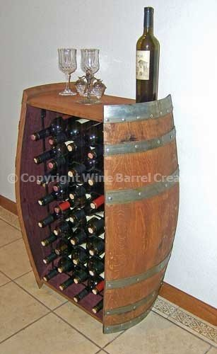 Solid Oak Recycled Wine Barrel Cabinet