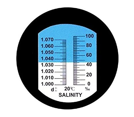 CAMWAY Salinity Refractometer for Sea Water Aquarium Tank Aquarium and Sea Water Hydrometer,Dual Scale 0-100 PPT of Salinity and 1.000 to 1.070 Specific Gravity 0-10/% Marine Industry