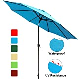 Cheap GOLDSUN Patio 9 Ft Market Outdoor Aluminum Table Patio Umbrella with Push Button Tilt and Crank (Aqua Blue)