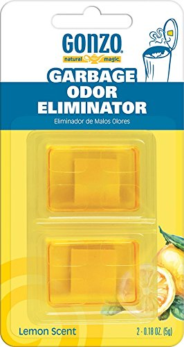 Gonzo Natural Magic Garbage Odor Eliminator - Lemon Fragrance - Absorbs and Eliminates Odors in Your Home - 2 Adhesive Gels (Urine Fish Odor)
