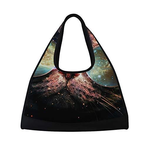 HUVATT Gym Bag Illustration Cat Galaxy Planet Glasses Women Yoga Canvas Duffel Bag Sports Tote Bags for Girls -