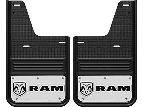 Gatorback RAM Head Horizontal Logo Truck Mud Flaps (2009-18 RAM Rear - Single Rear Wheel) (Flaps Mud Longhorn Ram)