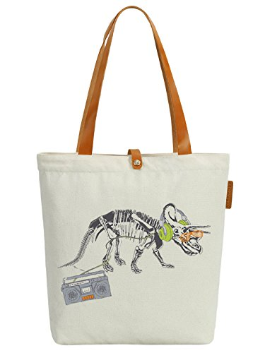 amp; 10L Dinosaurs Bag Beach Music Beige Print 35cm Listen So'each Tote Canvas fv5RqR