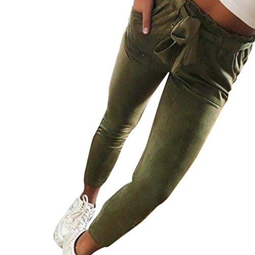 Pantalons Mode De Pantalon Leggings Femme de avec Ceinture Sport Manche  Elégante Haute Deux Uni Armeegrün Printemps Poches Casual ... 773ce1f2615