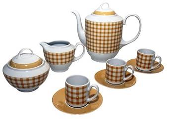 Santa Clara Aloia Campiña Amarillo - Juego café 12 servicios, 27 piezas: Amazon.es: Hogar
