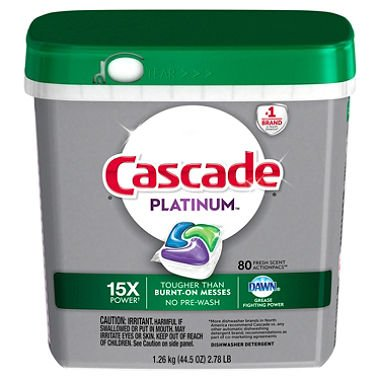 Cascade Platinum ActionPacs Dishwasher Detergent, Fresh Scent, 80 Count (5 Pack(80 Count)) by CASCADE