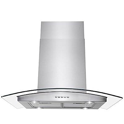 "AKDY Island Mount Range Hood -36"" Stainless-Steel Hood Fan for Kitchen - 3-Speed Professional Quiet Motor - Premium Push Control Panel - Minimalist Design - Mesh Filter & LED Lamp - Tempered Glass"