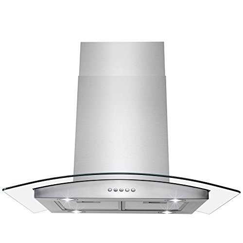 "AKDY Island Mount Range Hood -36"" Stainless-Steel Hood Fan for Kitchen - 3-Speed Professional Quiet Motor - Premium Push Control Panel - Minimalist Design - Mesh Filter & LED Lamp - Tempered Glass"