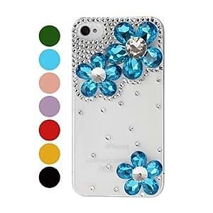 YULIN DIY Irregular Diamond Flowers with Rhinestone Pattern Plastic Hard Case for iPhone 4/4S , Red