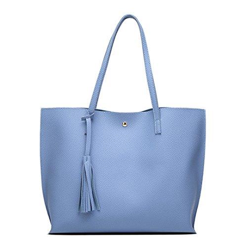à Argent Blue Tassel Grand Simili Totes Femme 30cmXLongueur femme Designer Arrivée à Sac bandoulière sac à Mesdames Rivet main Sac maxX50cm main cuir AA4ExBqH