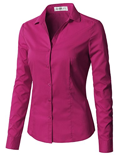 (CLOVERY Women's Basic Stretchy Long Sleeve Slim Fit Button Down Collared Shirt Fuchsia S)