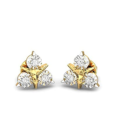 bcd61caf7fa2e Candere By Kalyan Jewellers 18k (750) Yellow Gold and Diamond Stud Earrings  for Women