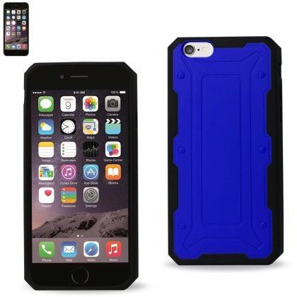 Reiko iPhone 6 4.7-Inch Protector Cover TPU+PC with Transformer Design - Retail Packaging - Navy Black