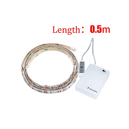 TEQIN 50CM 5050 Waterproof Flexible IP65 RGB LED Strip Lights with Battery Box Lamp 4.5V for Home, Outdoor Lighting Craft Hobby Light Decoration (Battery Box is Not Waterproof)