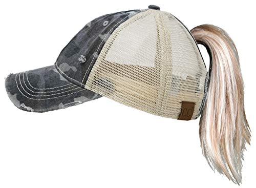 - H-216-0684 Distressed Ponycap Trucker Dad Hat: Black Camo/Beige Mesh