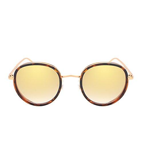 Retro Round Mirror Sunglasses Gradient Lenses Tortoise Shell Eyeglasses Women (Gold / Gradient - Shell Eyeglasses Womens Tortoise